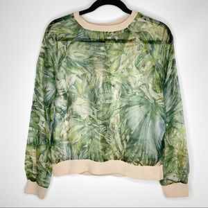 Zara Basic Tropical Palm Print Sheer Pullover